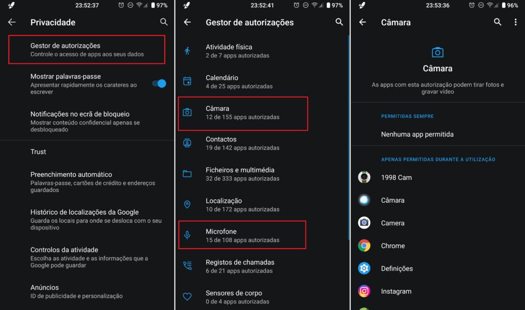 Android acesso câmara microfone